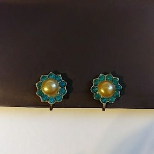 Vintage faux pearl and blue screw back earrings